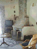 Traditional house for rent in Cyprus with fireplace.